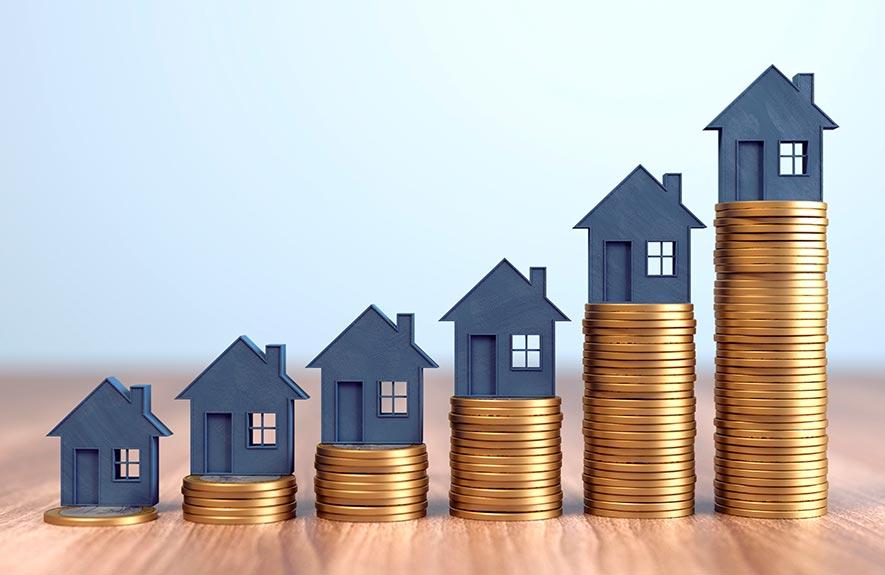 Courbe évolutive maison avec pièces