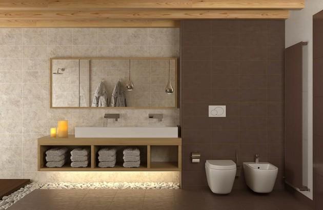 Les galets dans la salle de bains