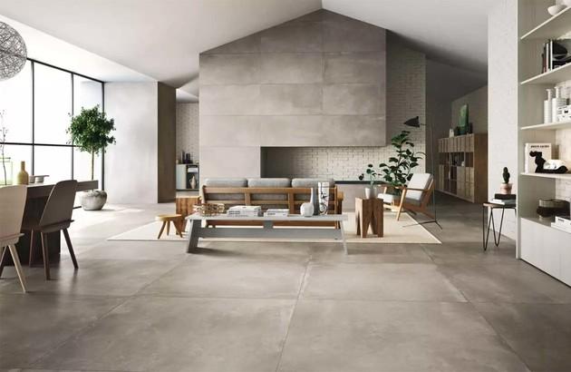 carrelage imitation pierre installé dans le salon