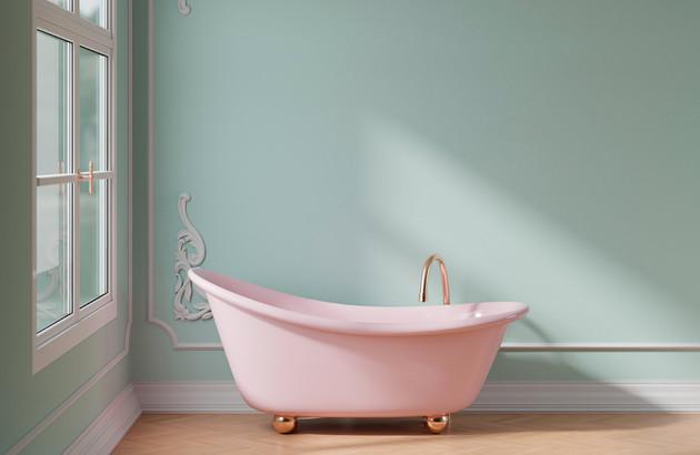 Des sanitaires rose pour une touche Vintage!