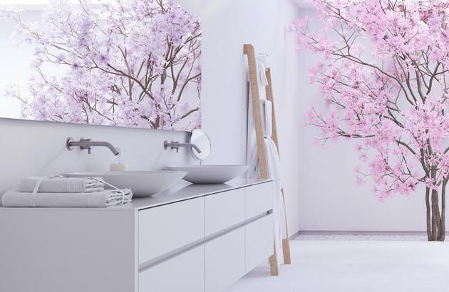 Salle de bains blanche avec meuble rénové
