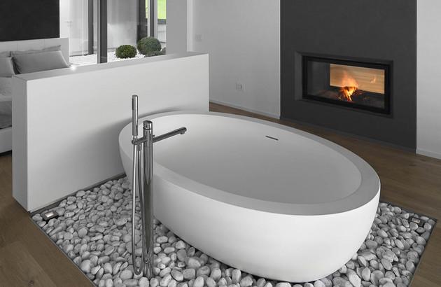 Salle de bains pour les parents: libre choix de matériaux