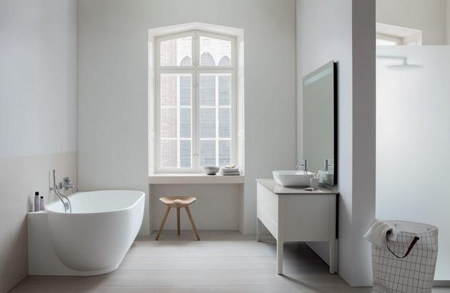 Salle de bains style rustique grâce à la collection de meubles Luv de Duravit