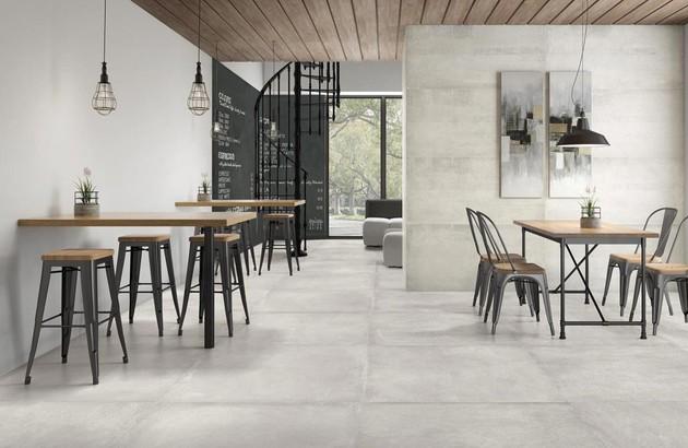 carrelage effet pierre grise dans une salle à manger