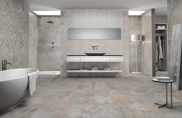 Pose du carrelage Gravity d'Ibero dans la salle de bains