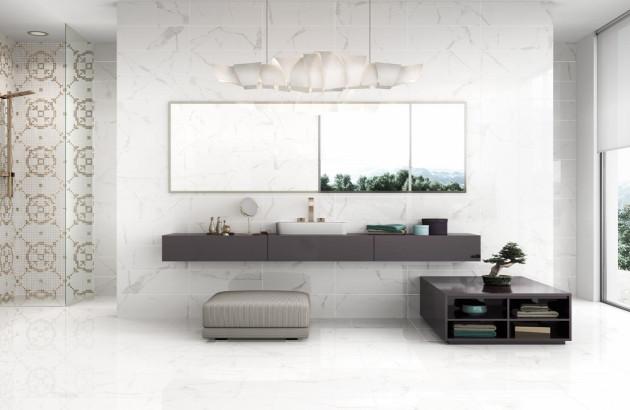 Carrelage effet marbre Calacata de la marque Pavigrès