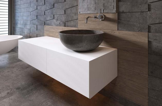 meuble sous vasque blanc avec vasque en pierre noire