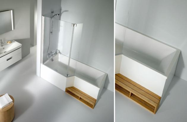 Un véritable espace douche dans une baignoire: baignoire Néo bain-douche de JACOB DELAFON