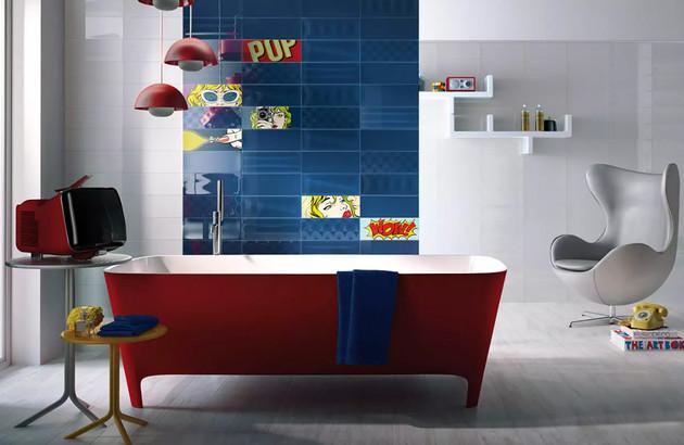 Carrelage PopImola dans une salle de bains rétro