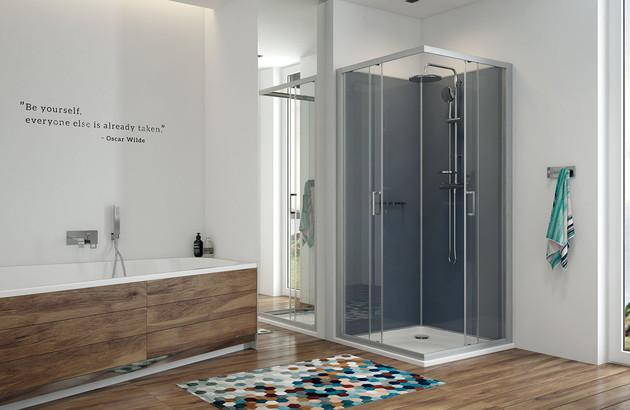 Cabine douche avec receveur béton Kara minéral de Leda