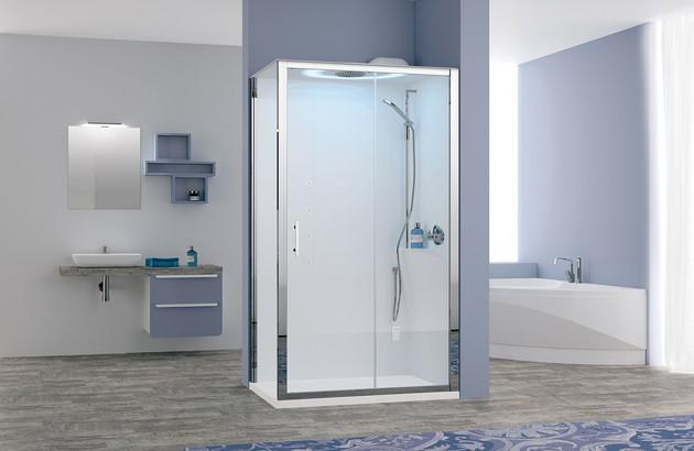 Cabine de douche moderne avec luminothérapie Eon de Novellini