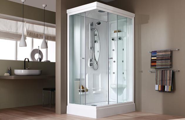 Petite cabine de douche blanche Odyssée de Leda