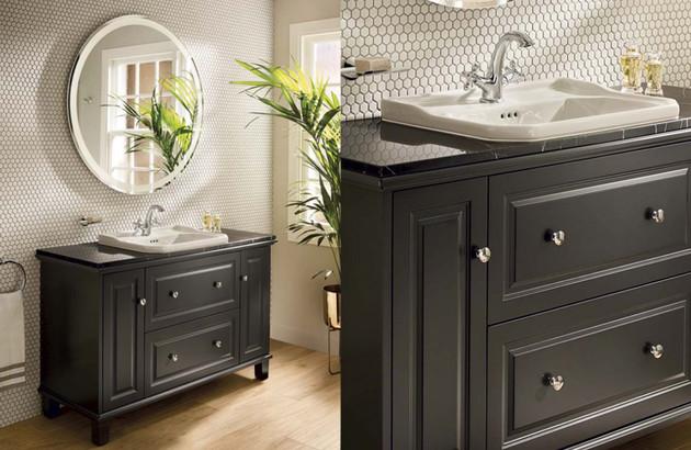 Meuble salle de bain r tro vintage espace aubade - Meuble de salle de bain style retro ...