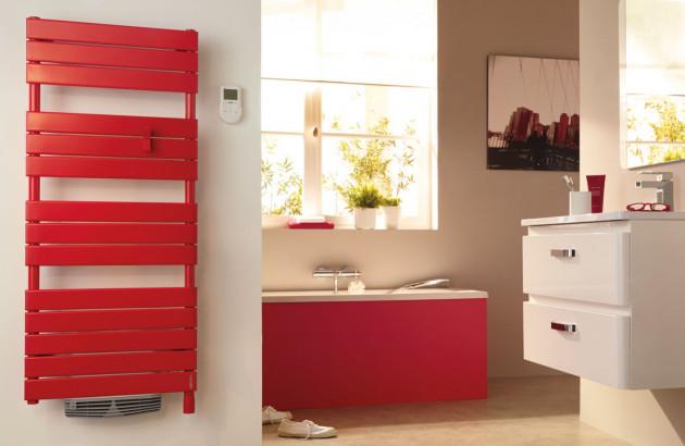 Sèche-serviettes soufflant rouge Adelis intégral