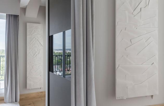 Sèche-serviettes soufflant Edo avec design en relief