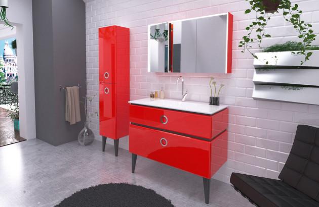 Meuble salle de bains rouge Jolie Mome