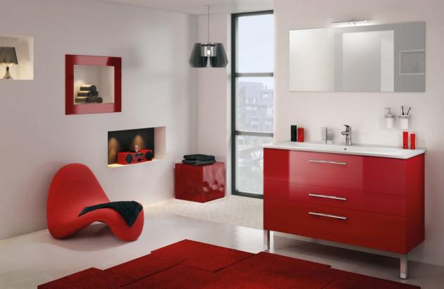 Meuble salle de bains rouge Graphic