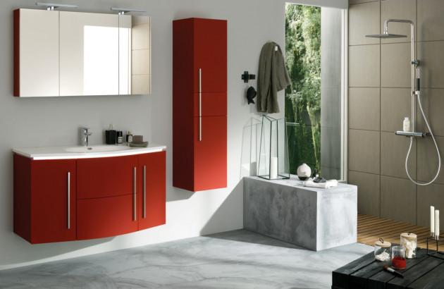Meuble salle de bains rouge Soon