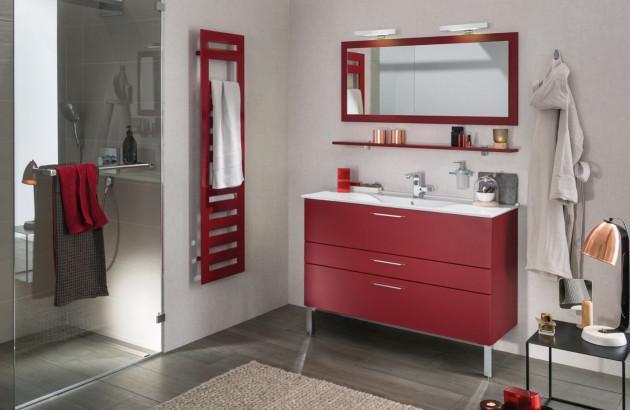 Meuble salle de bains rouge Unique Soft Delpha