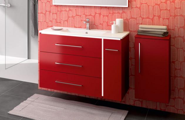 Meuble salle de bains rouge Lumina