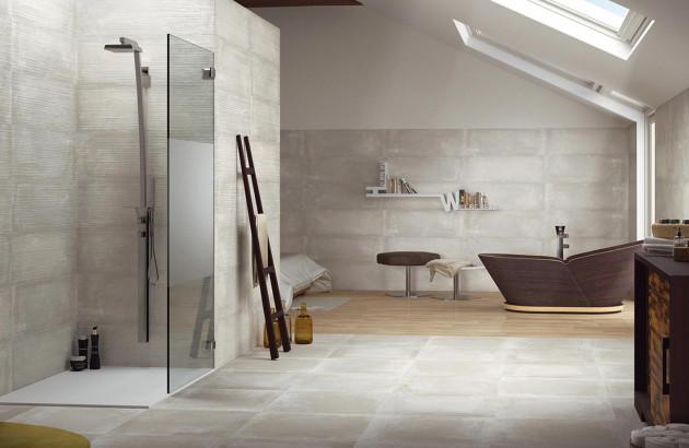 Carreaux effet béton de la marque Azteca dans une salle de bains moderne