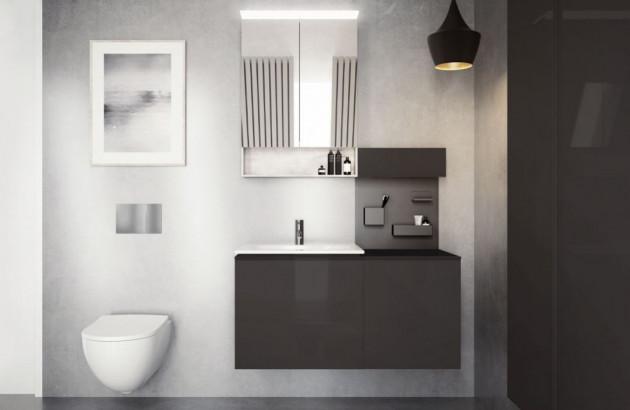 Meuble suspendu noir aménagé dans une salle de bains