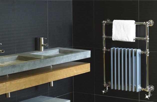 Sèche-serviettes design retro Victor SR Cinier dans salle de bains vintage