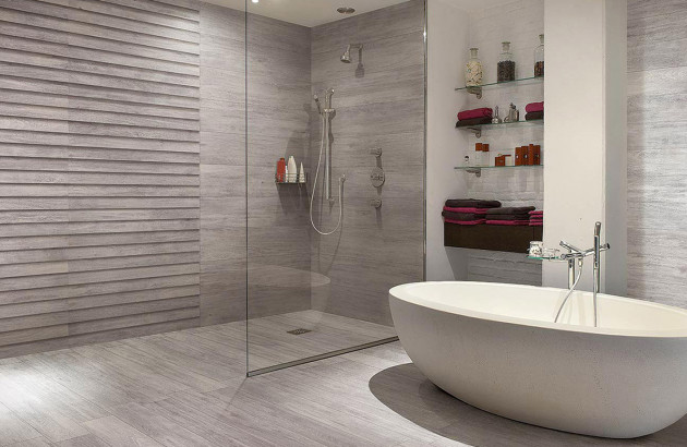 Douche à l'italienne et baignoire ilot