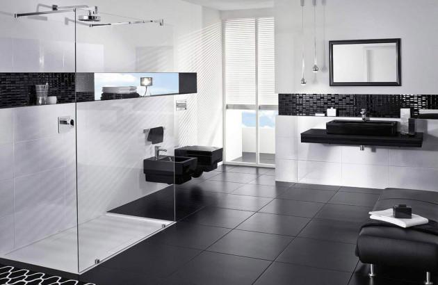 Salle de bains noir et blanche