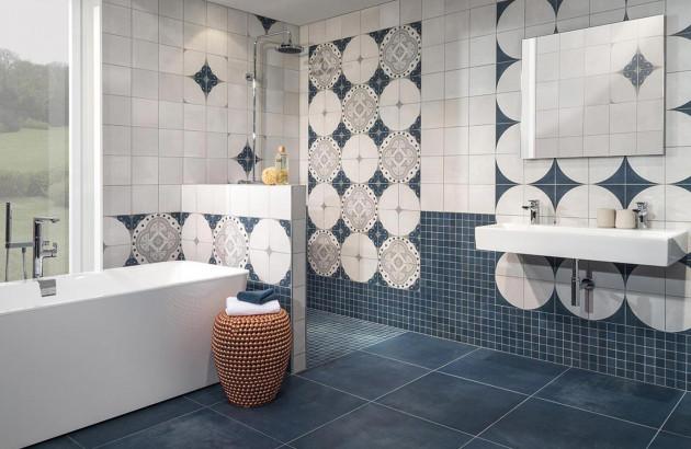 Carrelage de salle de bains imitation carreau de ciment