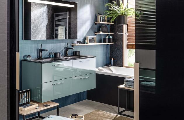Meuble de salle de bains Unique Glossy de la marque Delpha avec accessoires complémentaires