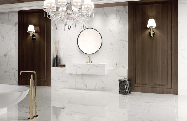Carrelage salle de bains imitation marbre