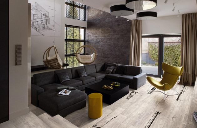 Salon avec carrelage imitation bois Viva