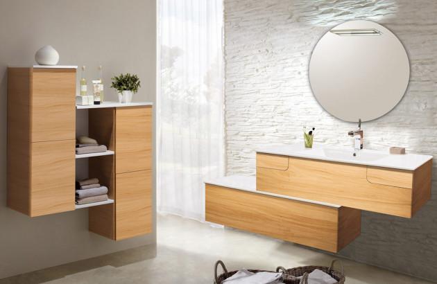 Meuble de salle de bains suspendu en bois