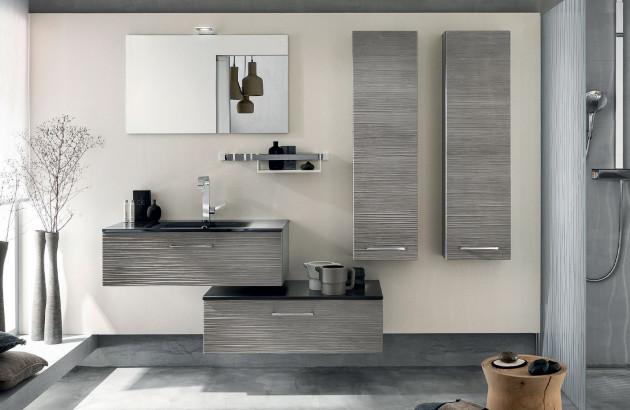 Salle de bain contemporaine avec tiroirs et colonnes de rangement