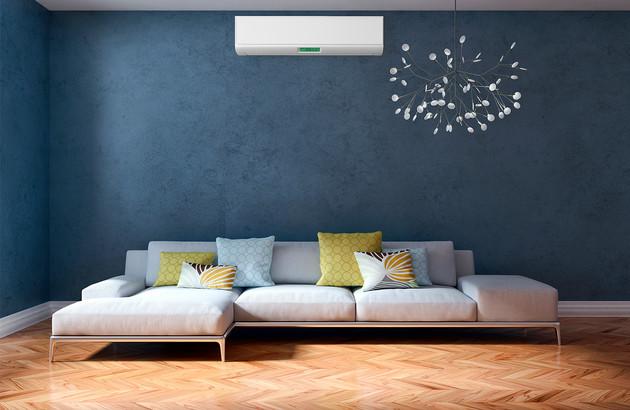 Climatiseur réversible installé dans un salon