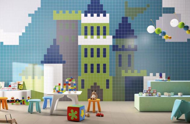 Carrelage mural coloré pour chambre d'enfant