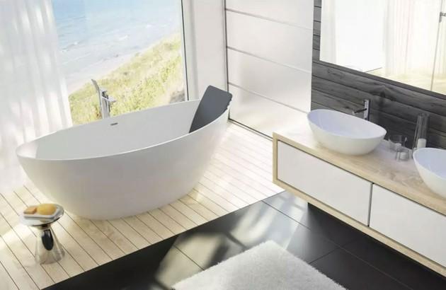Baignoire ovale Namur dans une spacieuse salle de bains