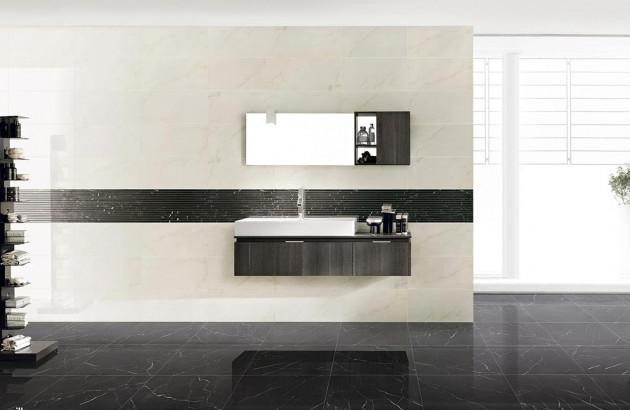 Une belle salle de bains avec du carrelage en marbre de Piemme