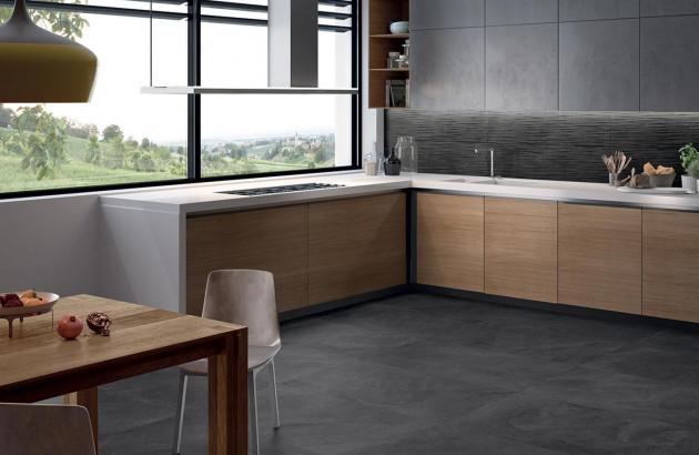 Une belle cuisine moderne avec du carrelage  Ergon imitation béton brut