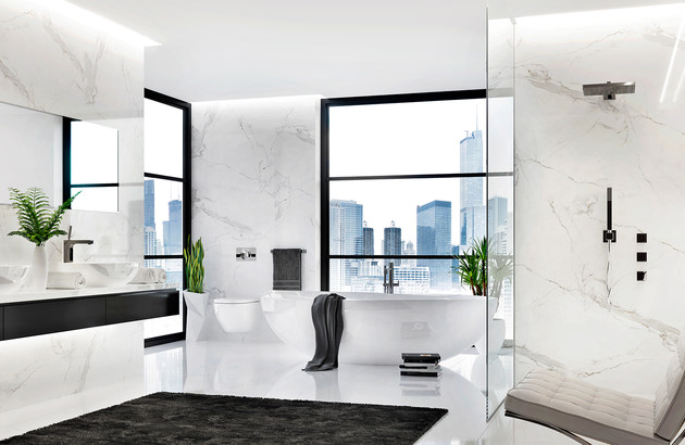 Salle de bains look noir et blanc