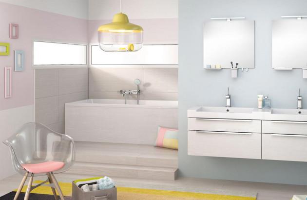Salle de bains couleurs pastels