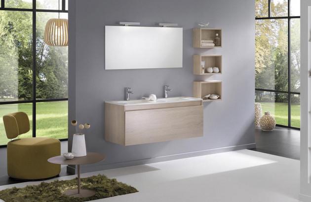 Meuble de salle de bains double vasque en bois clair