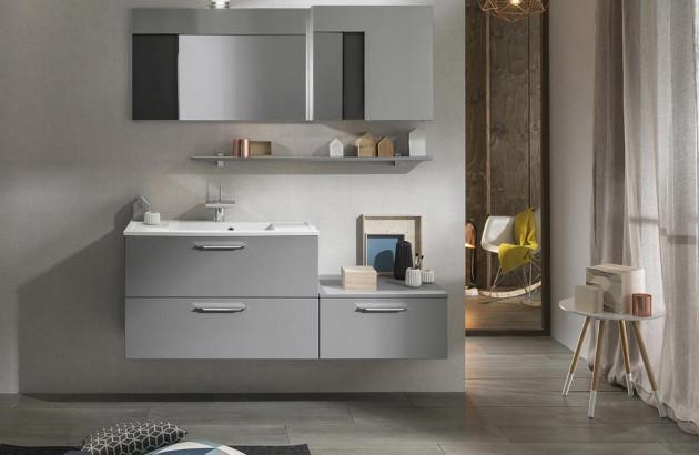 Meuble de salle de bains moderne gris