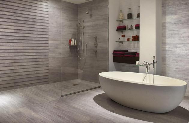 Belle inspiration de douche à l'italienne avec revêtement Riga de Cerdisa