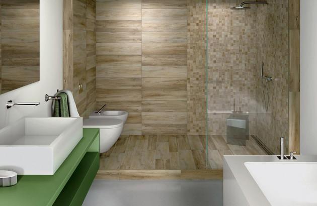 Ambiance zen et naturelle dans cette douche italienne au revêtement Natura de Cerdisa
