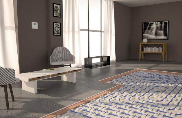 Plancher chauffant électrique posé dans un salon