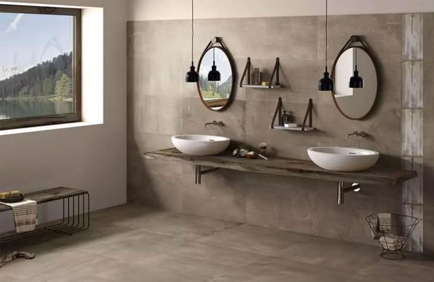 Salle de bains rétro avec carrelage aspect naturel brut