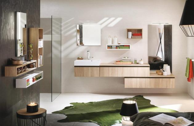Une salle de bains apaisante avec des couleurs phares