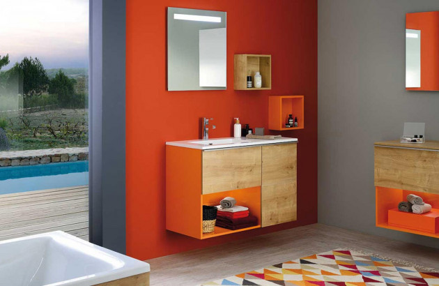 Orange énergisant dans salle de bains liberty fantasy de Sanijura